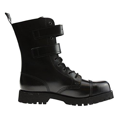 Boots & Braces Bottes rangers à lacets avec 10 œillets et 2 boucles Noir