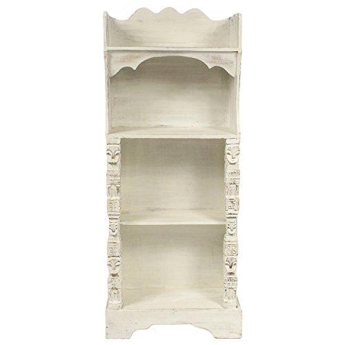 Oriental Galerie Regal Albesiaholz leichtes Bücherregal Standregal Holz Asien Shabby Chic Schnitzerei Weiß 118 cm (Antik-weiße Bücherregal)