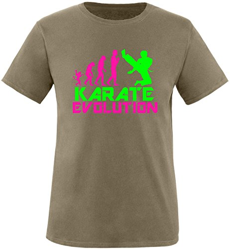 EZYshirt® Karate Evolution Herren Rundhals T-Shirt Olive/Pink/Neongr