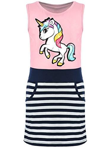 d Sommer-Kleid Kinder Kleid-er Ärmellos Einhorn LED Lichteffekt 30050 Rosa 116 ()