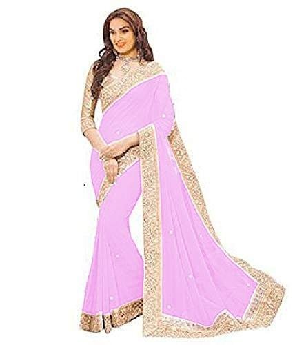 Very Me Women's Brocade & Georgette Saree (Light Pink Color)