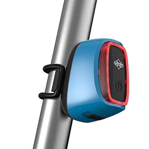 Smart Fahrrad Licht Rücklicht Taschenlampe Bike Schwanz LED Schock Sensing und Tageslicht Sensing Schalter 7Flash Modell USB wiederaufladbar, blau (Guardian Led)
