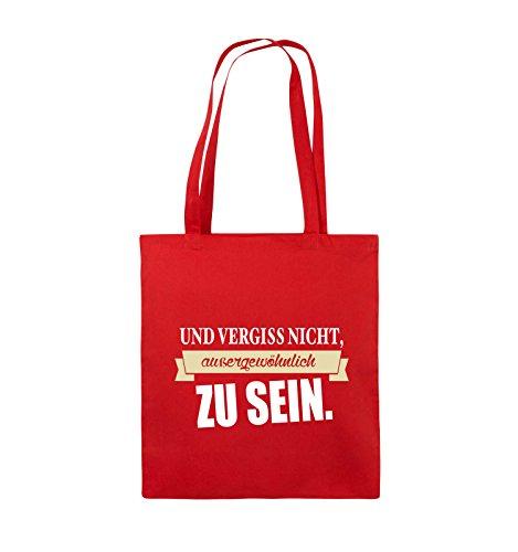 Comedy Bags - Und vergiss nicht, aussergewöhnlich zu sein. - Jutebeutel - lange Henkel - 38x42cm - Farbe: Schwarz / Weiss-Neongrün Rot / Weiss-Beige