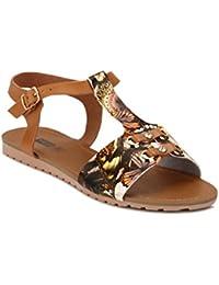 Yepme Women's Brown Synthetic Sandals