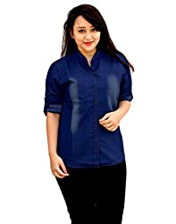 Aarti Collections Stylish Monkey wash print Dark Blue Denim Shirt for Women