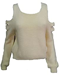 MIXLOT Mesdames Trois Cut tricoté Crop Top à manches longues Jumper Vêtements d'hiver Taille S / M, M / L
