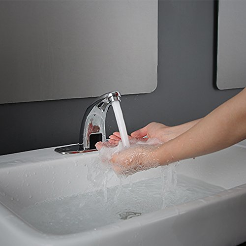Auralum - Waschbeckenarmatur, Kaltwasserarmatur, Sensorarmatur, Infrarot IR, Batteriebetrieb, Chrom