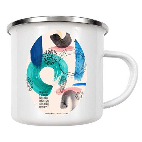 artboxONE Emaille Tasse 'Form Combination P1' von Sarah Plaumann - Emaille Becher Abstrakt