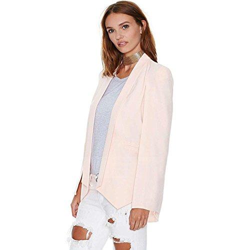 Yalatan Fashion Women Long Sleeve Lapel Cape Poncho OL Jacket Cloak Coat Blazer Suit pink