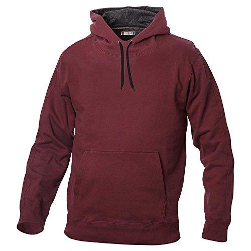 Kapuzen Sweater Sweatshirt Hoody mit kontrastfarbener Kapuze in 14 Farben und den Grössen S, M, L, XL, XXL, 3XL und 4XL Bordeaux