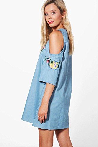 Damen Mittleres Blau Sadie Besticktes Kleid In Chambrayoptik Mit Ausgeschnittenen  Schultern Mittleres Blau