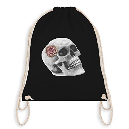 Rockabilly - Totenkopf Rose Vintage Skull - Unisize - Schwarz - WM110 - Angesagter Turnbeutel / Gym Bag