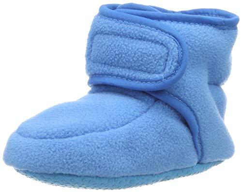 Playshoes Baby-Schuhe aus Fleece, Krabbelschuhe für Mädchen und Jungen mit rutschhemmender Noppen-Sohle, Türkis (aquablau), 18/19 EU