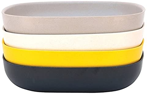 BIOBU gusto by eKOBO 34604 assiette creuse en - 1 (noir/gris/blanc/jaune citron