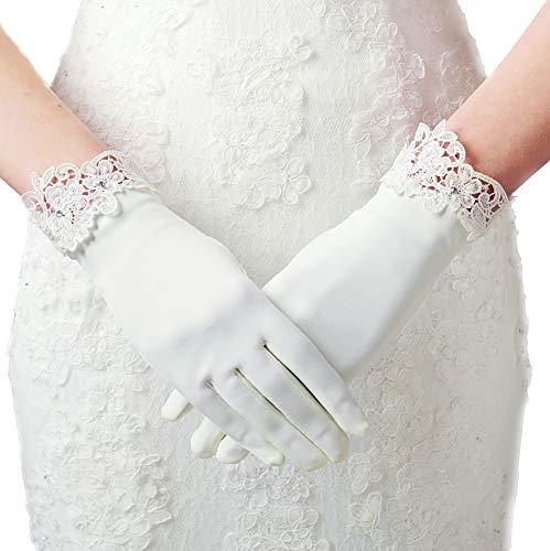ArtiDeco Hochzeit Braut Handschuhe Opera Fest Party Damen Handschuhe Kostüm Accessoires (Weiß Lace)