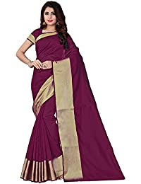 BuyOnn Women's Cotton Silk Saree With Blouse Piece (Ofs101-Maroon, Multicolor, Free Size)