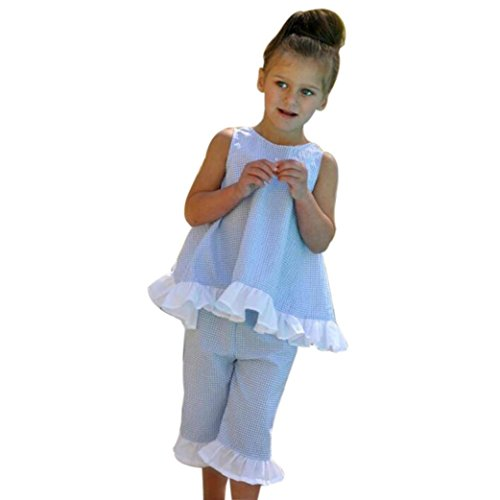 Kolylong For 1-5Years, Summer 2PCS Kids Baby Girl Cute Bownot Vest Tops + Shorts Pants Outfits Clothes Set (4Y, Blue)