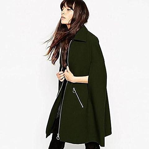 Moda verde cabo Batwing lana abrigo mujeres de , army green , m