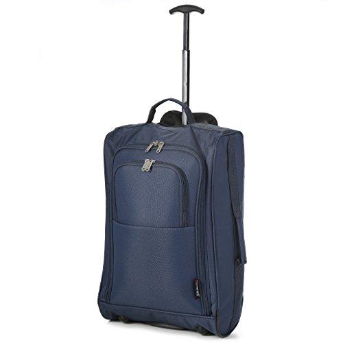 5 Cities - Trolley da cabina ideale come bagaglio a mano - Dimensioni 55x40x20cm (Ryanair, Easyjet, WizzAir e altre) - Capienza 42 litri - (Colore: Marina Militare)