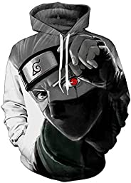 Naruto Cosplay Anime Costume 3D Hoodie Autumn Couple Sweater Zip Up Hoodie Sports Sweater with Pocket for Wome