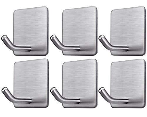Ganchos autoadhesivos de 3 m – 6 unidades de ganchos para toallas de baño, ganchos de oficina, llaves colgantes SUS 304 de acero inoxidable resistente gancho de pared para cocina, casa, toalla, abrigo, bolsas, calendarios