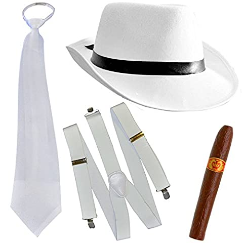 German Trendseller® - mafia costume┃ gangster blanc ┃20er ans┃ Al Capone chapeau+cravate+bretelles+cigare┃ Mafiaoso┃ Le parrain ┃carnaval accessoires