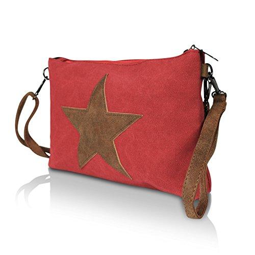Glamexx24 Damen Clutches Tasche Handtaschen Schultertasche Umhängetasche mit Stern Muster Tragetasche TE201615 0DunkelPink