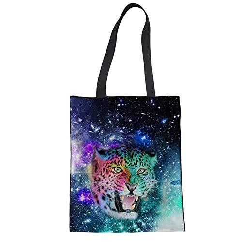 Leopard Print Canvas Handtasche (ZXXFR Frauen Handtasche Sternenhimmel Animal Print Canvas Schultertasche Jugendlicher Mädchen Tote Bag Casual Leinwand (34 X 42 cm), Leopard)