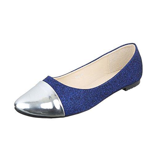Ital-Design Klassische Ballerinas Damenschuhe Klassische Ballerinas Blockabsatz Blockabsatz Ballerinas Blau Silber HS42