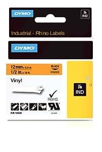 Dymo Rhino Etiquettes Industrielles Vinyle 12mm x 5,5m - Noir sur Orange