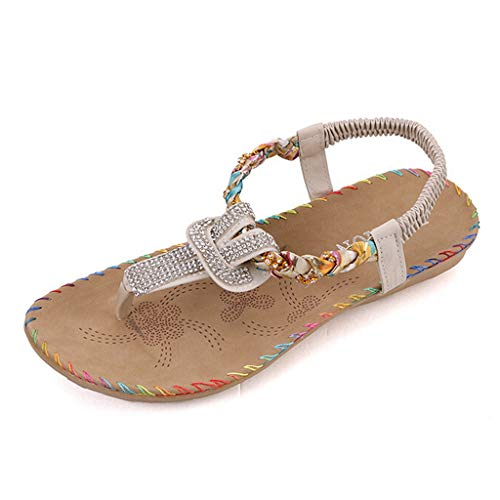 🍒🌸Eaylis Sommer Sandalen Damen Mit Absatz,Strass Flache Perlen Schuhe
