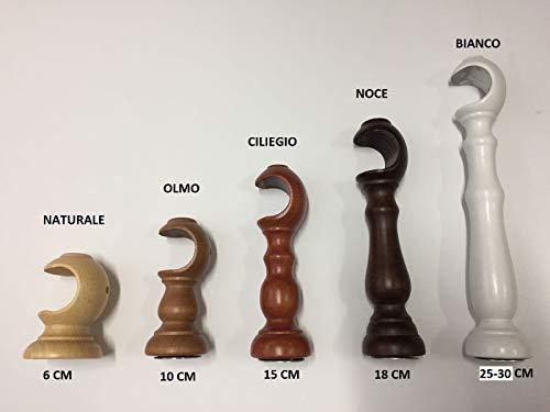 Tendeevolution coppia staffe supporti mensole per tende legno bastone mm 35 vari colori e misure (noce, 15 cm)