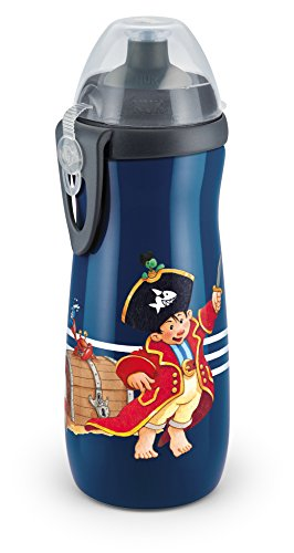 NUK 10255324 Capt'n Sharky Sports Cup, großes Volumen 450 ml, mit Push-Pull-Tülle aus Silikon, ab 36 Monaten, BPA frei, dunkelblau