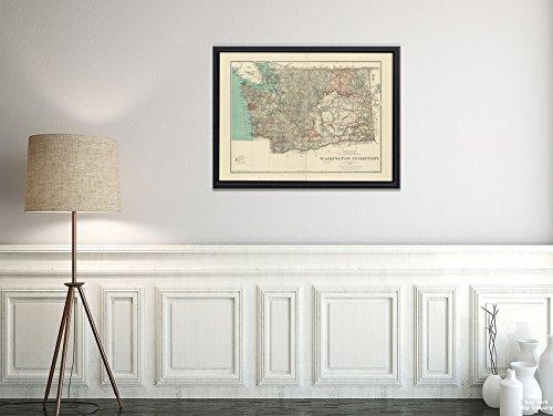 New York Map Company (TM) 1887 Karte von Washington, Washington-Region Relief, Gezeigt von Hachures und Punkthöhen Prime Meridians Kunst-Reproduktion, Vintage-Stil, fertig zum Rahmen.