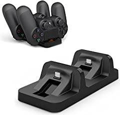 Microware Dual Charging Dock Station for PS4 PlayStation4 Wiresless Controller for PS4 Slim & Pro