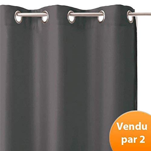 Homemaison par de Cortinas Opaco, poliéster, Antracita, 240x 135cm