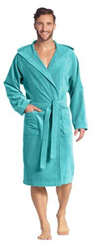 Vossen Unisex Bademantel Kimono Form mit Kapuze in capriblue Gr. M