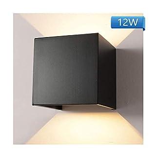 WZOED Wandleuchte LED Aluminium Wasserdichte Wandlampe, 12W 85-265V 3200K Verstellbare Innen-/Außen Wandleuchte 2Leds-Warm (Schwarz)