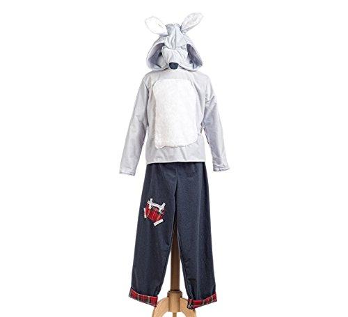 Elbenwald Rotkäppchen Wolf Kostüm Kinder Märchen Kostüm 2tlg Oberteil u Hose weiß grau - 9/11 - Halloween Wolf Girl Kostüm