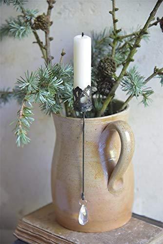 Jeanne d´Arc living Kerzenhänger mit Kristall L19,5cm Kerzenhalter Metall Spieß Candlestick Kerzenhalter Metall Spieß X-Mas