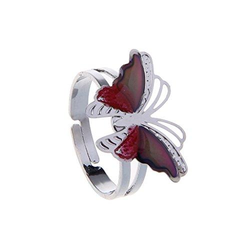zrshygs Farbwechsel Ring Bunte Schmetterling Stimmung Ring Temperatur Emotion Gefühl Ringe Für Frauen Kinder - Stimmung Ringe Kinder