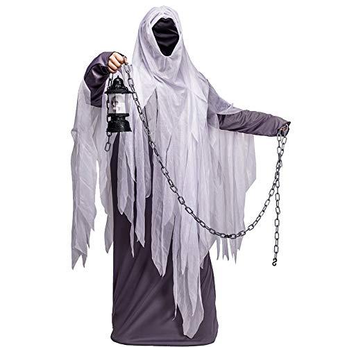 DuHLi Halloween Herren Ghost Kostüm Rollenspiel mit Kapuzen Ghost Cosplay Kostüm Party für Adult Man Ghost Robe (Ghost Robe Kostüm)