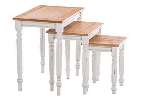 CLP 3er Satztisch Set TABEA aus Mahagoni-Holz, 3 x Beistelltisch im Landhaus-Stil, wunderschöne Verzierungen Weiß
