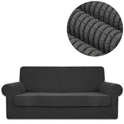 3-teiliges Leder-bett (ANJUREN Sofa-Schonbezug für Sessel und Sessel, Gitter Jacquard, Polyester, Spandex, für Wohnzimmer, Couch und Möbel, Stretch, Anti-Falten-Rutsch-Schutz XL Sofa grau)
