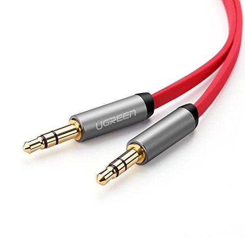 UGREEN Audio klinkenkabel Stereo Aux Flachkabel für AUX Eingänge 3.5mm auf 3.5mm Vergoldete Kontakte (2m, Rot)