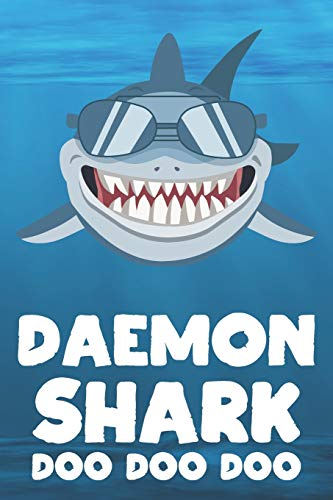 Daemon - Shark Doo Doo Doo: Blank Ruled Name Personalized & Customized Shark Notebook Journal for Boys & Men. Funny Sharks Desk Accessories Item for ... Supplies, Birthday & Christmas Gift for Men.