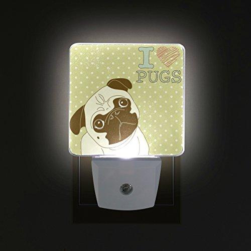 COOSUN Ich Liebe Möpse Stecker in LED-Nachtlicht Selbst-Sensor Smart-Dämmerung bis Dämmerung dekorativer Nacht für Schlafzimmer, Badezimmer, Küche, Flur, Treppen, Flur, Baby Zimmer, Energiesparen (U -