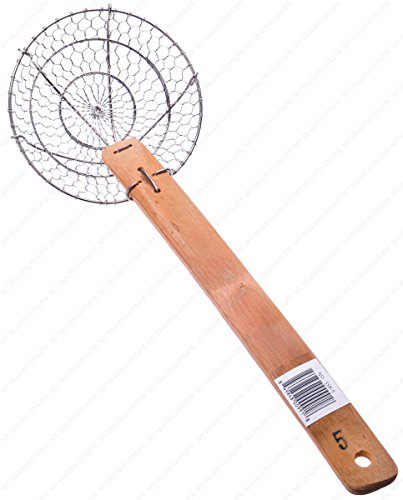 M.V. Trading Edelstahl Asian Spider Skimmer Sieb mit Bambus Griffe 4-Inches silberfarben Spider-skimmer