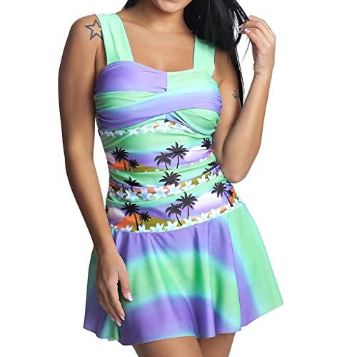 HULKY Damen Mode Casual Regenbogen Tankini Badeanzug Beachwear Gepolsterte Bademode Plus Size Biki Badekleid(Mehrfarbig,L3)