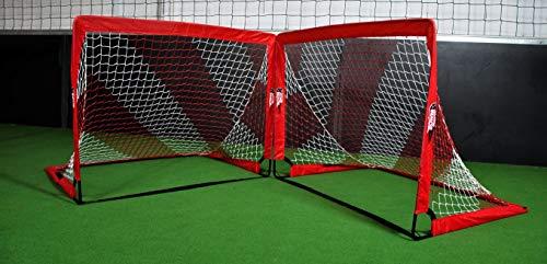 POWERSHOT Fußballtor Pop up - 2 Größen und 3 Farben zur Auswahl - 2er Set - faltbares Garten Fußballtor für Kinder (Rot/Weiss, 120 x 90cm)